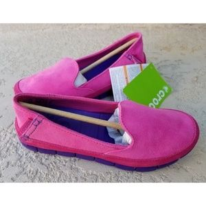 CROCS Stretch Sole MICROSUEDE Women's Flats Pink